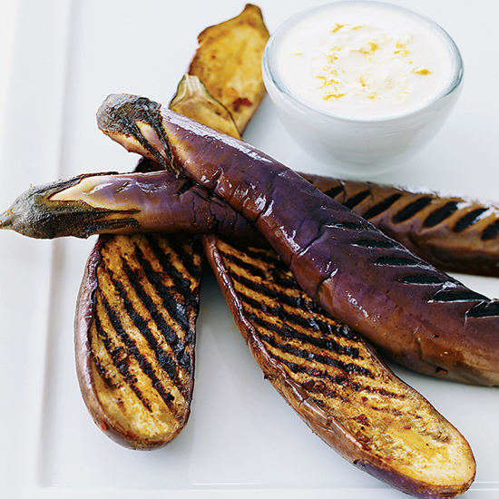 Grilled Eggplants with Cumin Yogurt Sauce