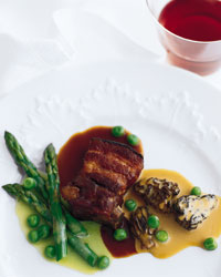 Goodell's Roasted Pork Belly with Asparagus, Morels and Peas