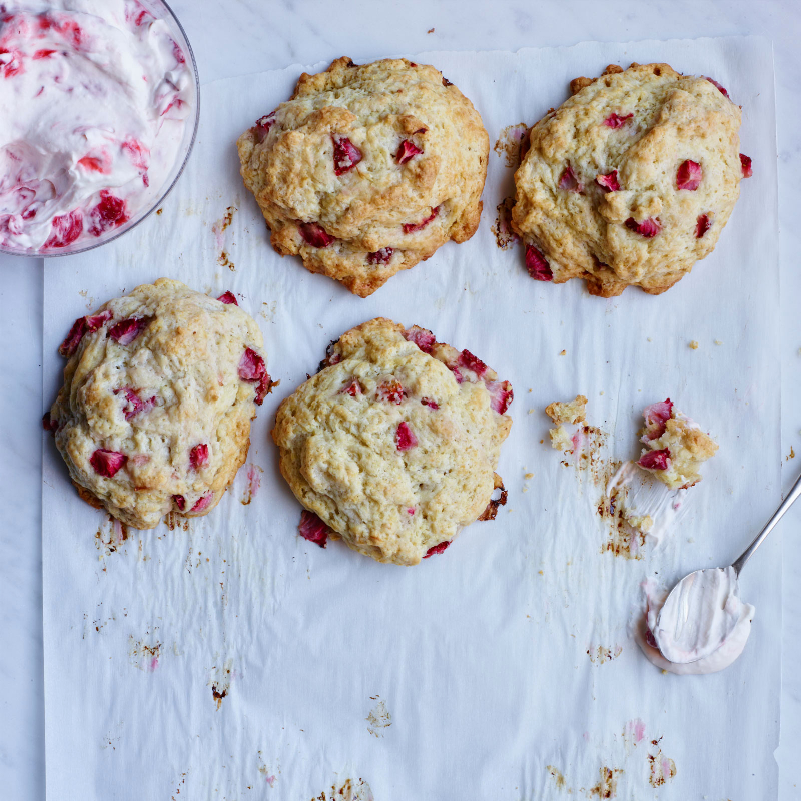 Strawberry Creme Fraiche Biscuits