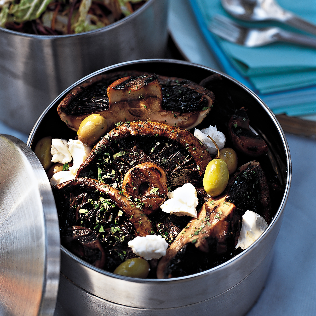 Marinated Portobellos with Olives and Goat Cheese
