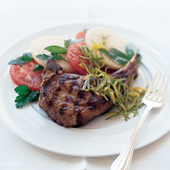 Veal Chops with Tomato and Green Mango Salad