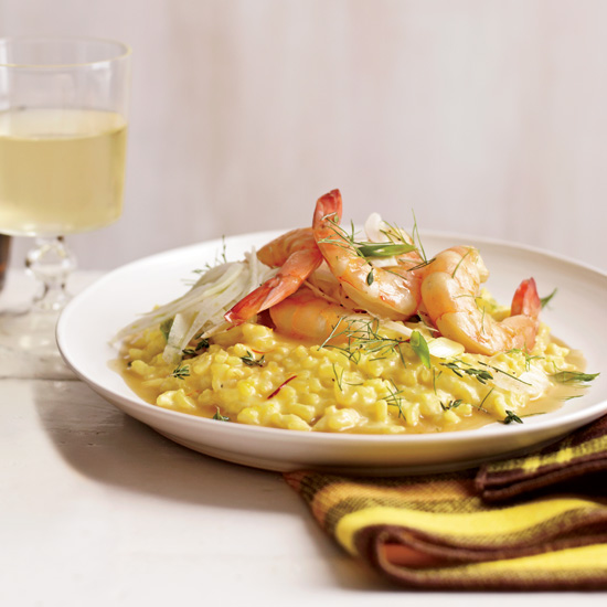 Shrimp with Saffron Rice and Fennel Salad