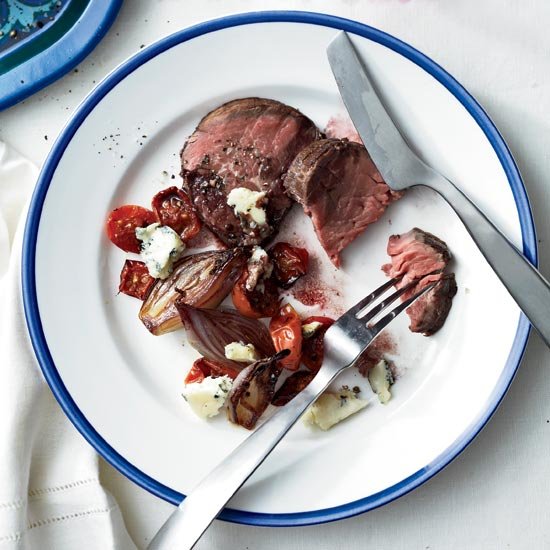 Beef Tenderloin with Tomatoes, Shallots and Maytag Blue