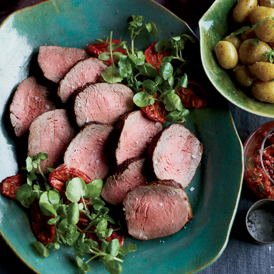 Roast Beef with Oven-Roasted Tomato Salsa