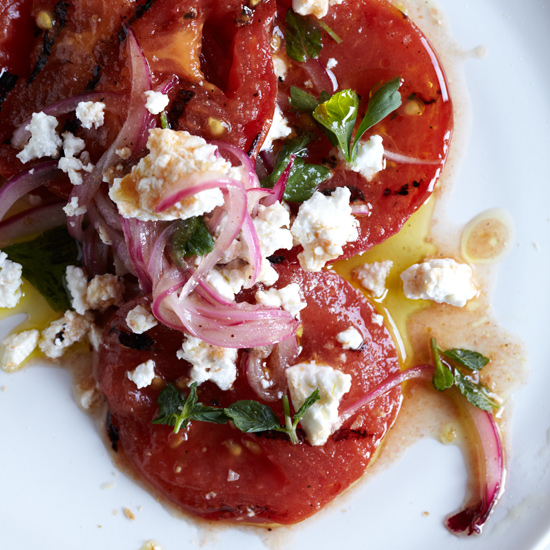 Grilled & Marinated Tomatoes with Feta