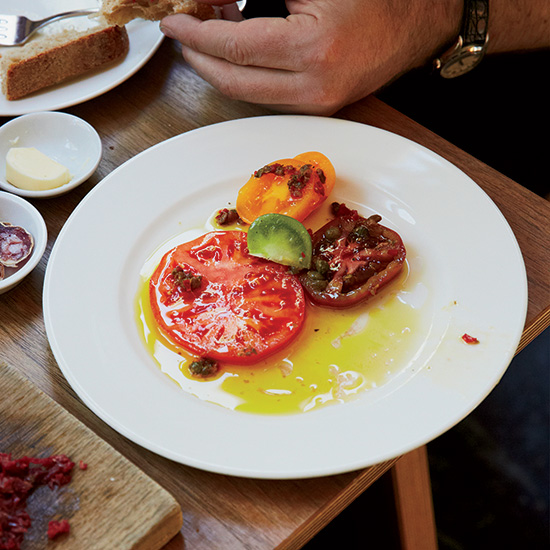 Heirloom Tomatoes with Anchovies and Red Chiles