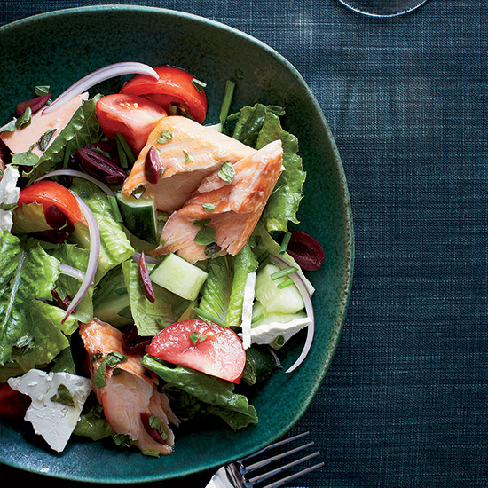 Greek Salad with Oregano-Roasted Salmon