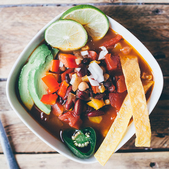 Vegetarian Three Bean Tortilla Soup