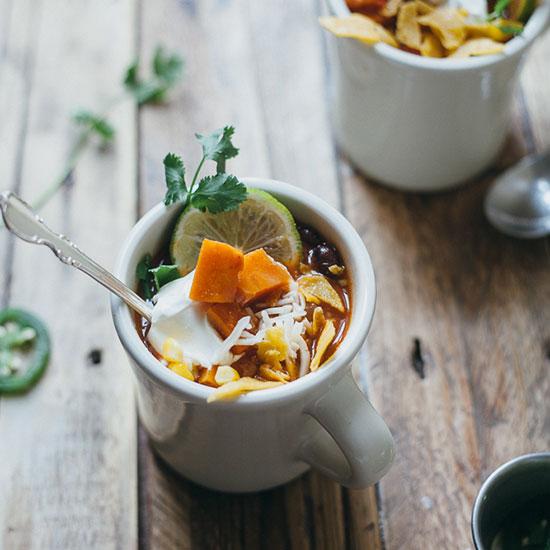 Vegetarian Tortilla Soup with Sweet Potato