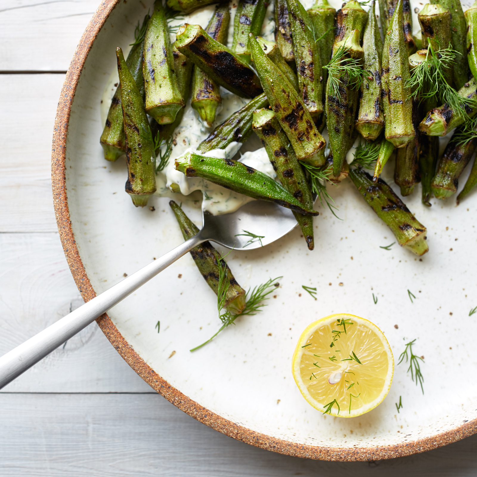 Blistered Okra with Dill Coriander Lebneh