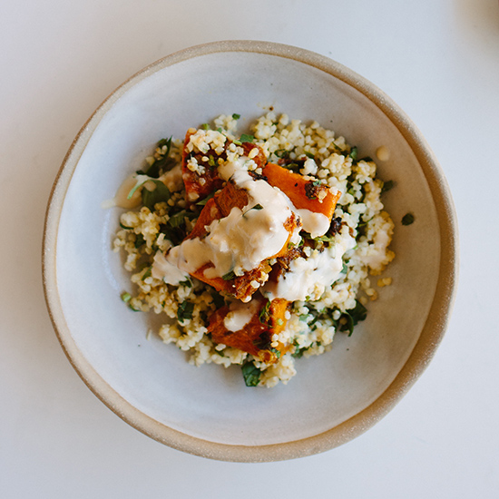 Spice-Roasted Butternut Squash with Herbed Millet and Tahini Dressing