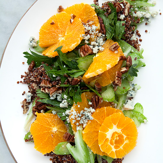 Black Quinoa with a Citrus-Celery Salad, Gorgonzola Cheese, and Pecans