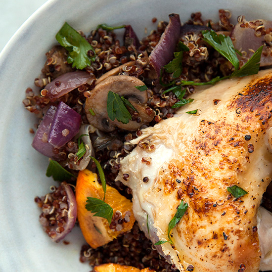 Roasted Citrus, Red Onion, and Portobello Mushroom Quinoa