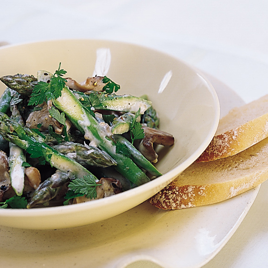 Asparagus and Oyster Mushroom Fricassee