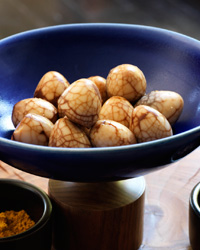 Tea-Marbled Quail Eggs with Dipping Salts