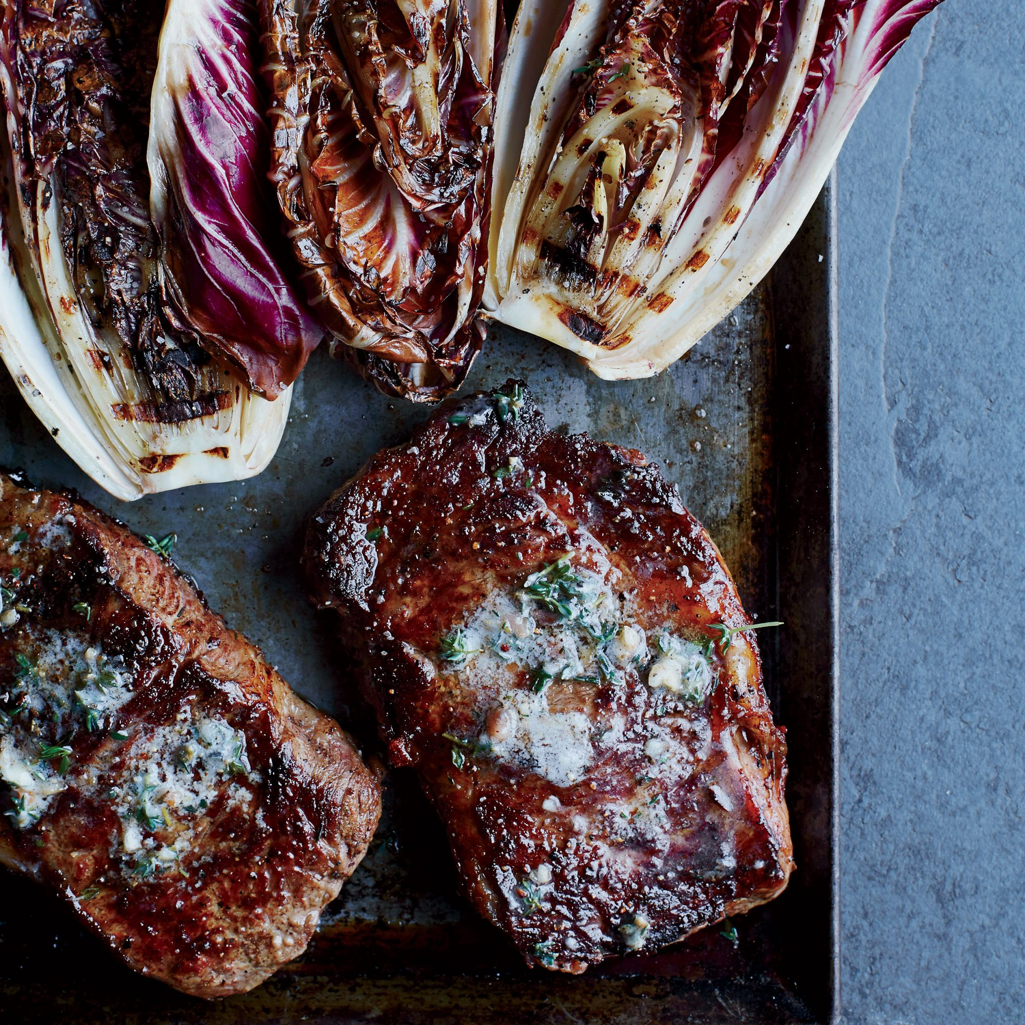 Rib-Eye Steaks with Grilled Radicchio