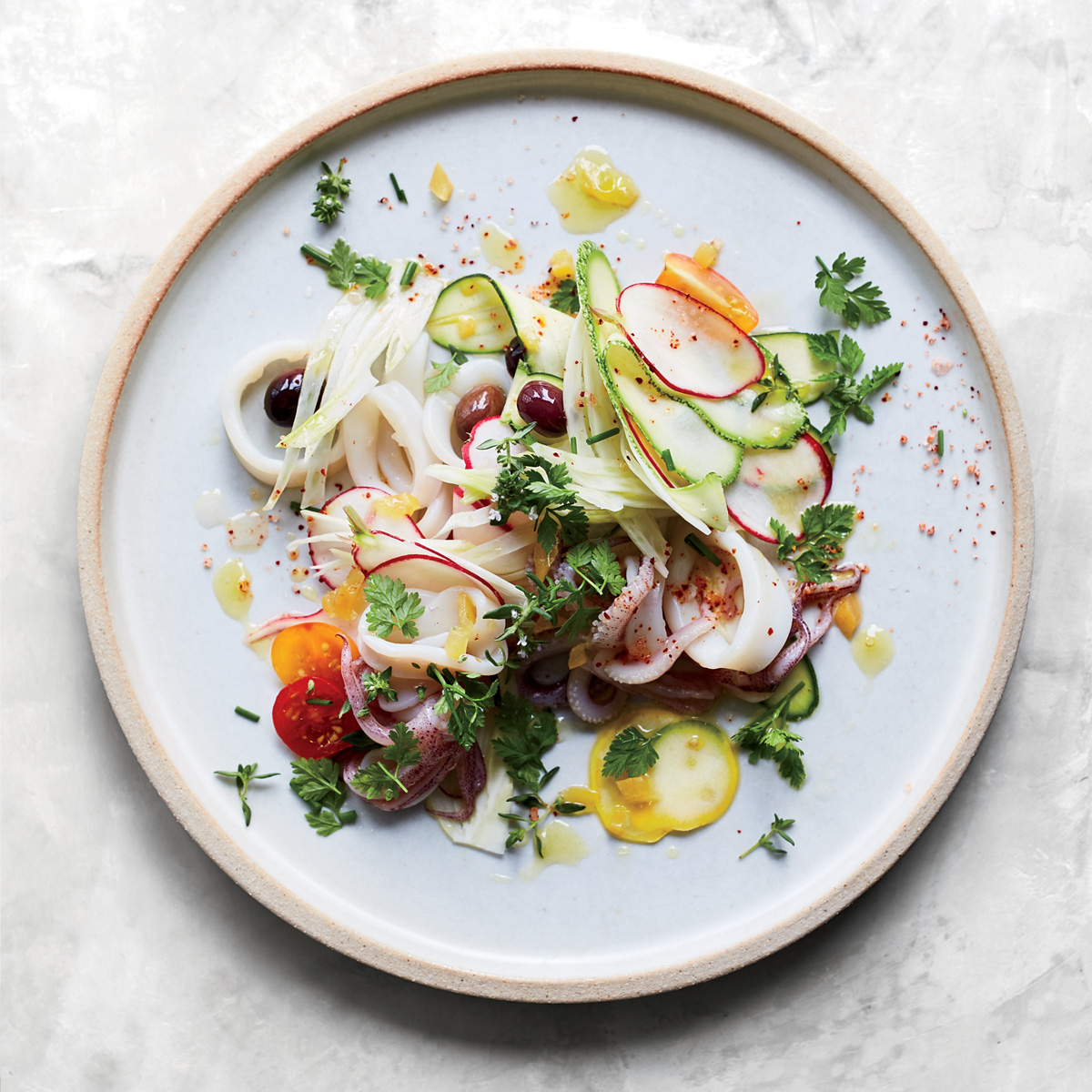 Squid and Summer Vegetable Salad with Preserved Lemon Dressing
