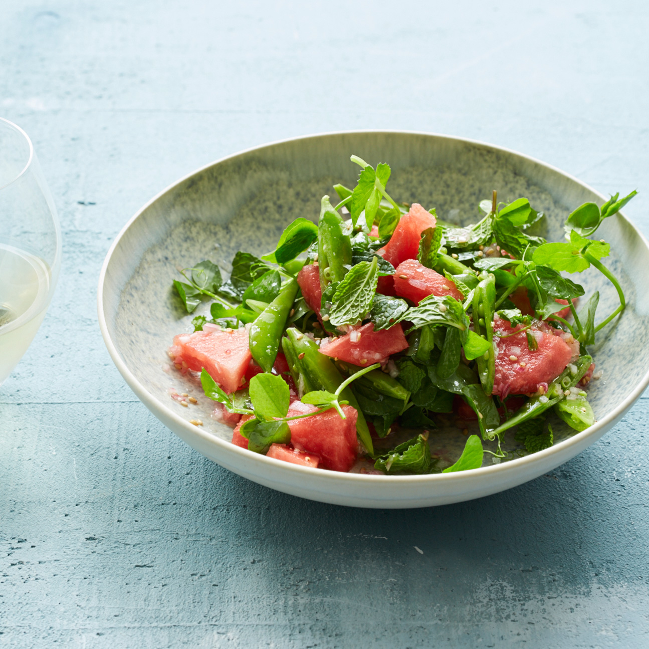 Watermelon and Snap Pea Salad with Mint