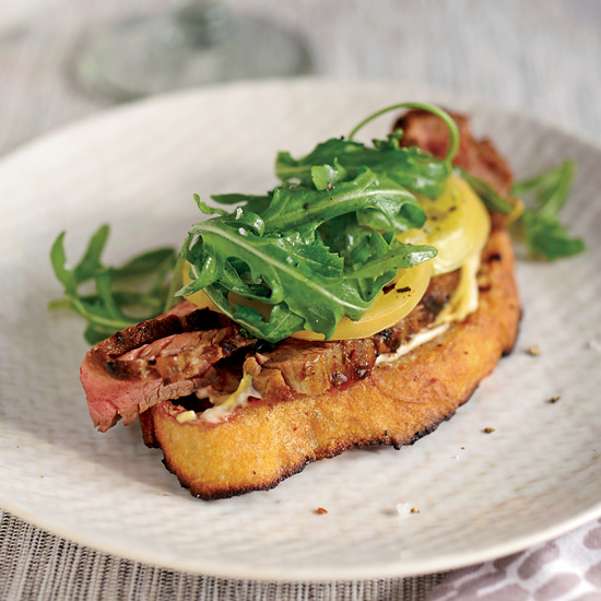 Open-Face Steak Sandwich with Pickled Green Tomatoes