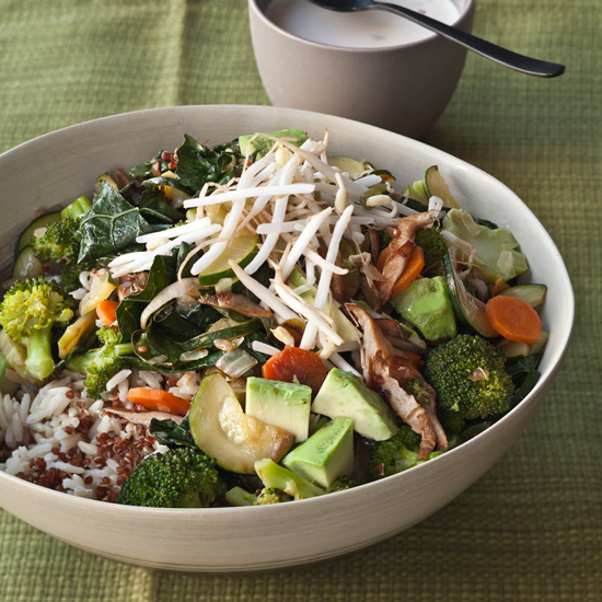 Quinoa and Brown Rice Bowl with Vegetables and Tahini