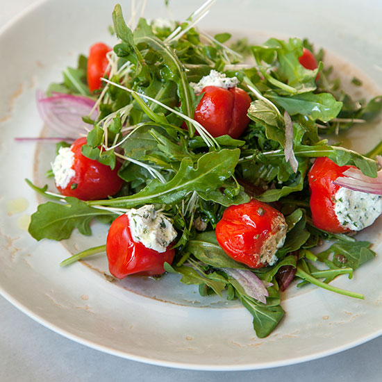 Stuffed Peppadew Pepper and Arugula Salad