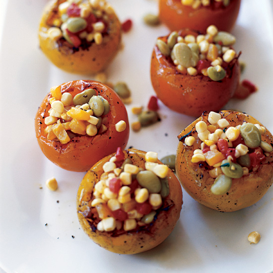 Heirloom Tomatoes Stuffed with Summer Succotash