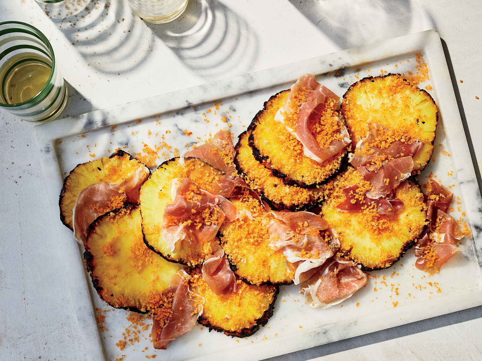 Grilled Pineapples with Barbecue-Spiced Breadcrumbs and Country Ham