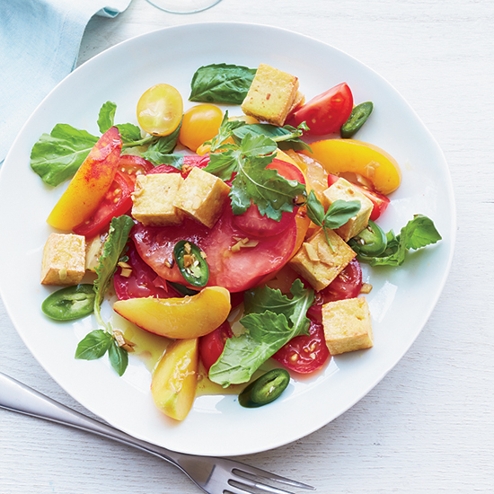 Tomato-and-Peach Salad with Crisp Tofu