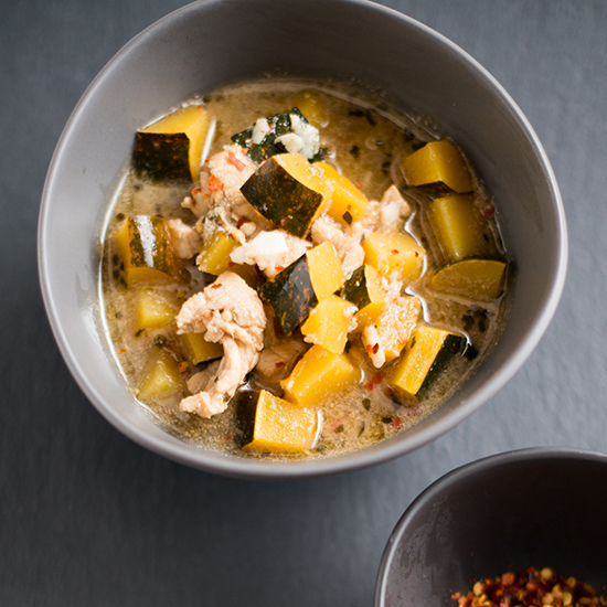 Mustard-Stewed Acorn Squash with Chicken