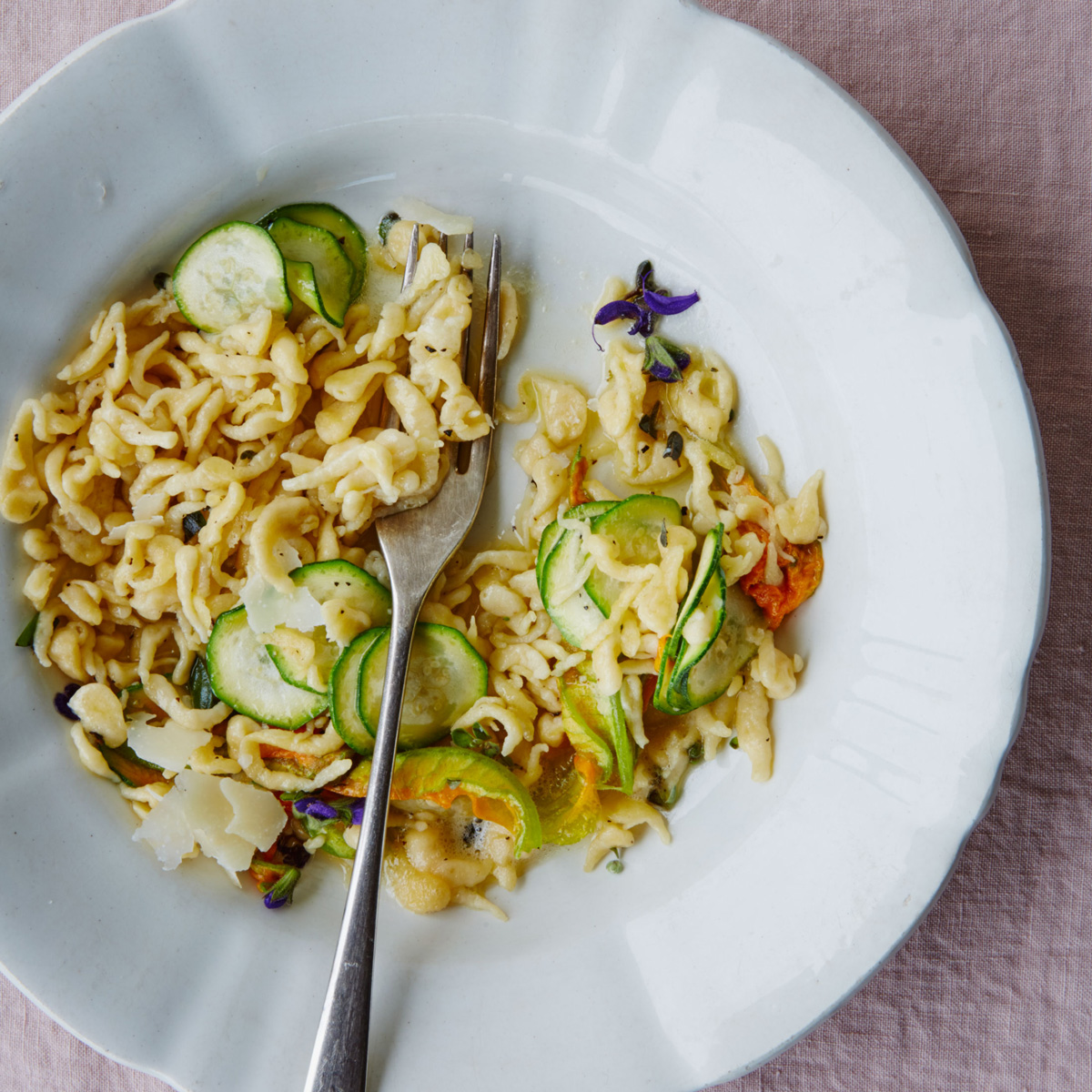 Friulian Pasta with Zucchini and Zuchini Flowers