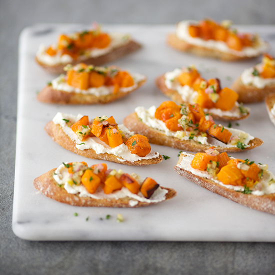 Crostini with Roasted Butternut Squash, Ricotta and Preserve