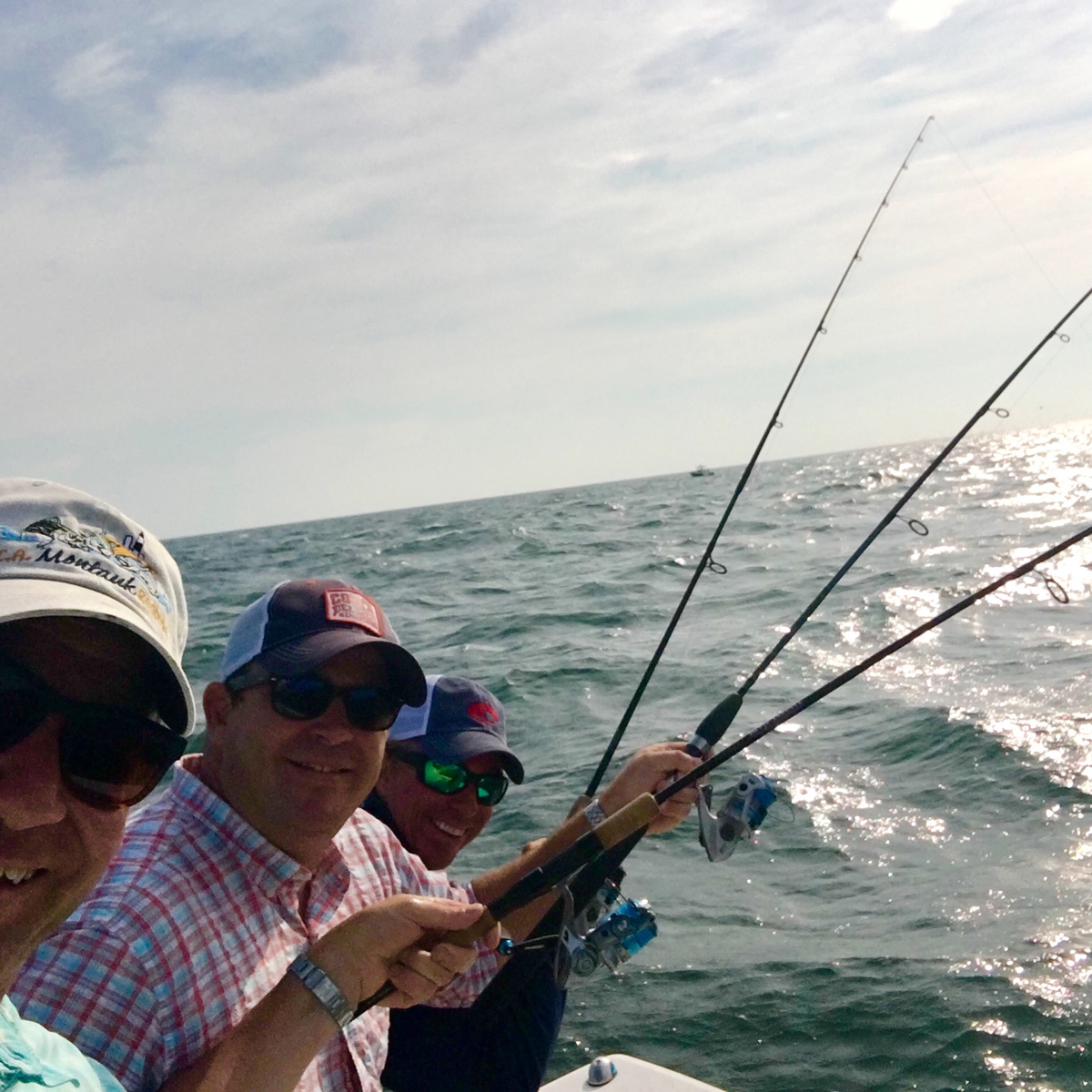 Kerry Heffernan and John Besh Fishing in the Hamptons