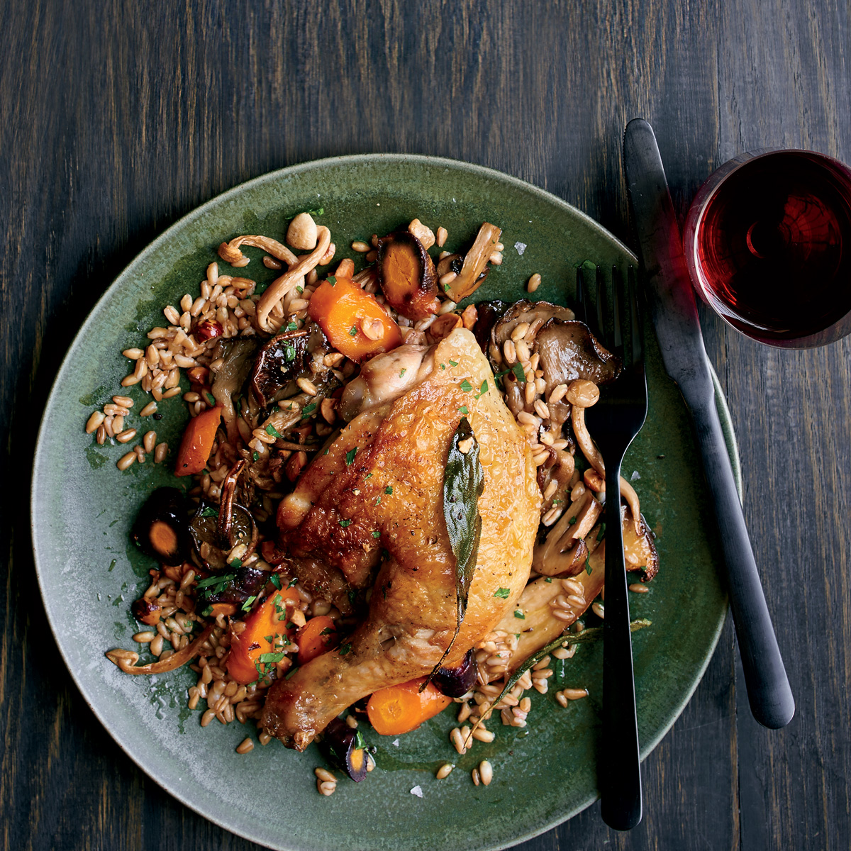 Pan Roasted Chicken with Warm Farro Salad