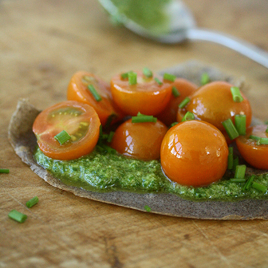 Buckwheat Crêpes with Cashew-Chive Pesto and Marinated Yellow Tomatoes