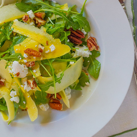 Shaved Yellow Squash with Arugula, Goat Cheese and Pecans