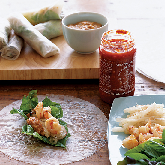 Shrimp and Jicama Rolls with Chili-Peanut Sauce