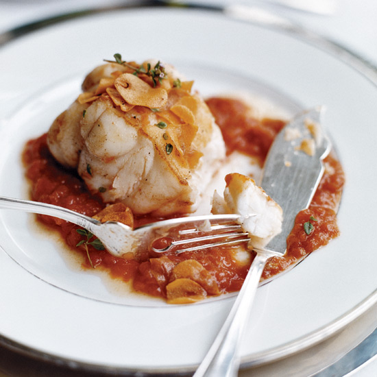 Monkfish in Tomato-Garlic Sauce