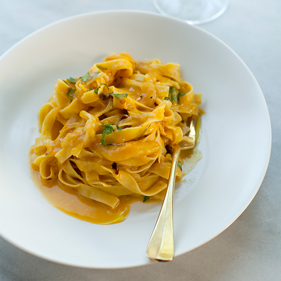 Tagliatelle with Fennel in White Wine Pumpkin Sauce