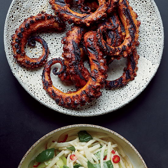 Grilled Octopus with Ancho Chile Sauce