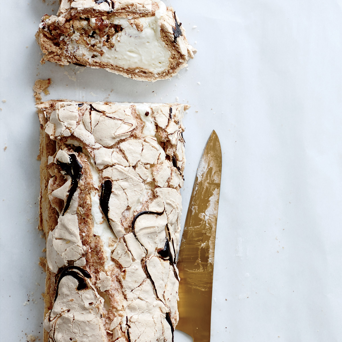 Swirled Meringue Roulade with Praline Whipped Cream