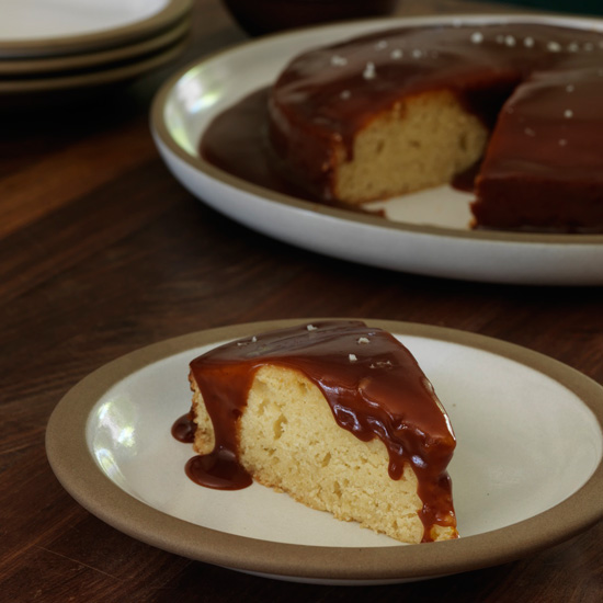 Vanilla Bean Cake with Salted Caramel Sauce