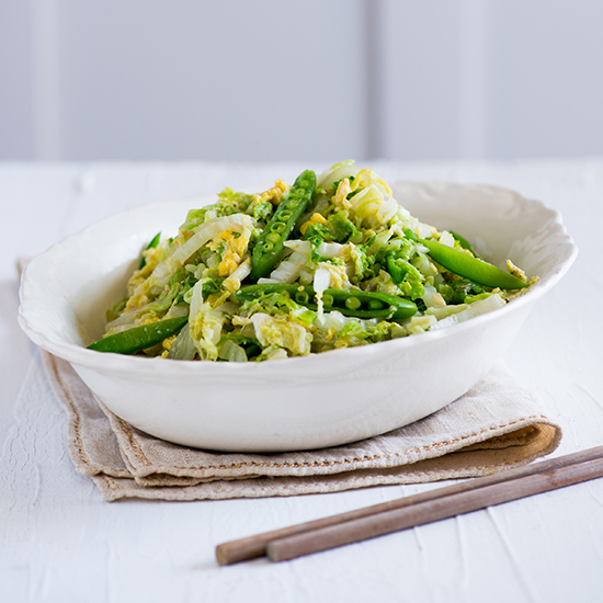 Sautéed Asian Cabbage, Sugar Snap Peas and Egg
