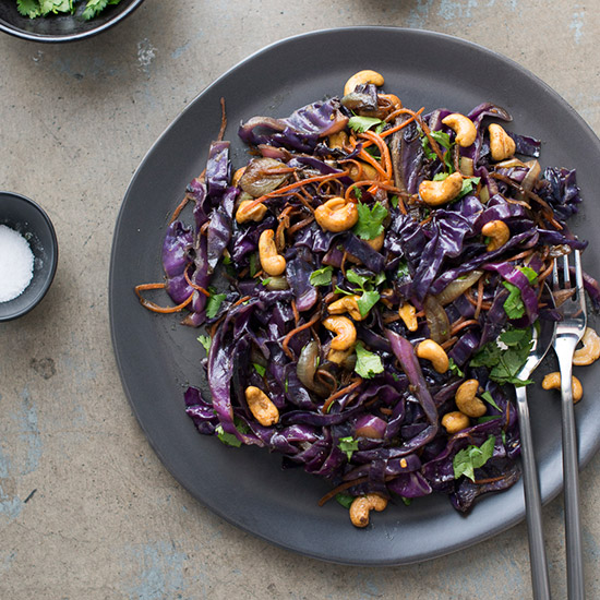 Curried Cashew and Red Cabbage Stir-Fry
