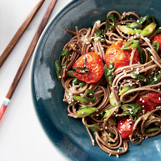 Soba Noodles with Miso-Roasted Tomatoes