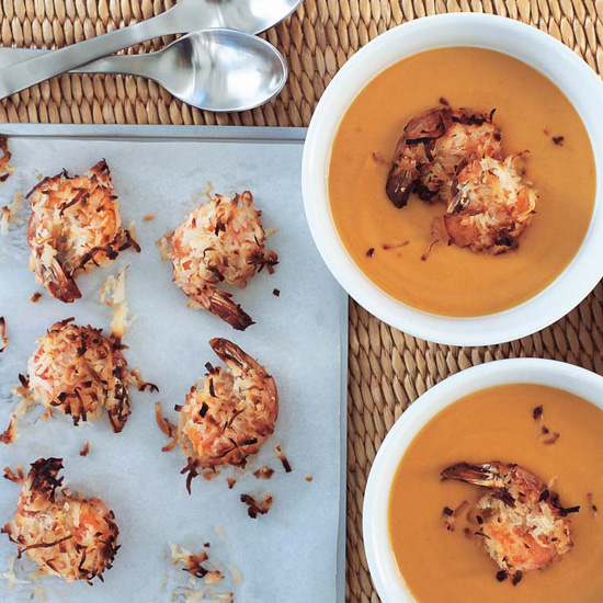 Carrot-Ginger Soup with Coconut-Roasted Shrimp