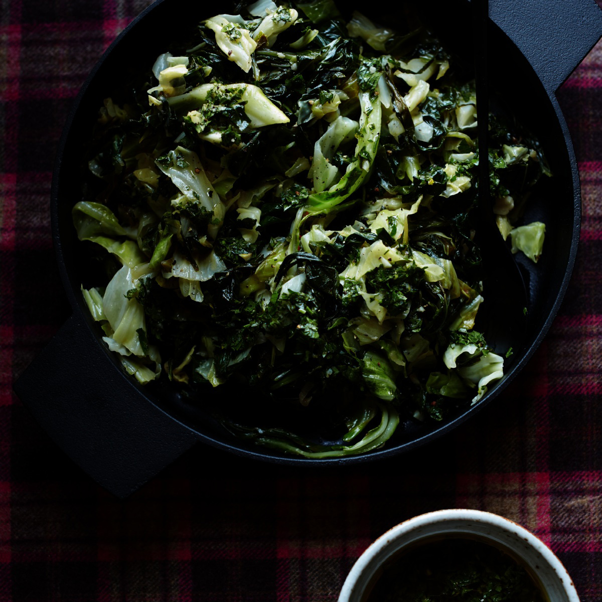 Sauteed Collards and Cabbage with Gremolata