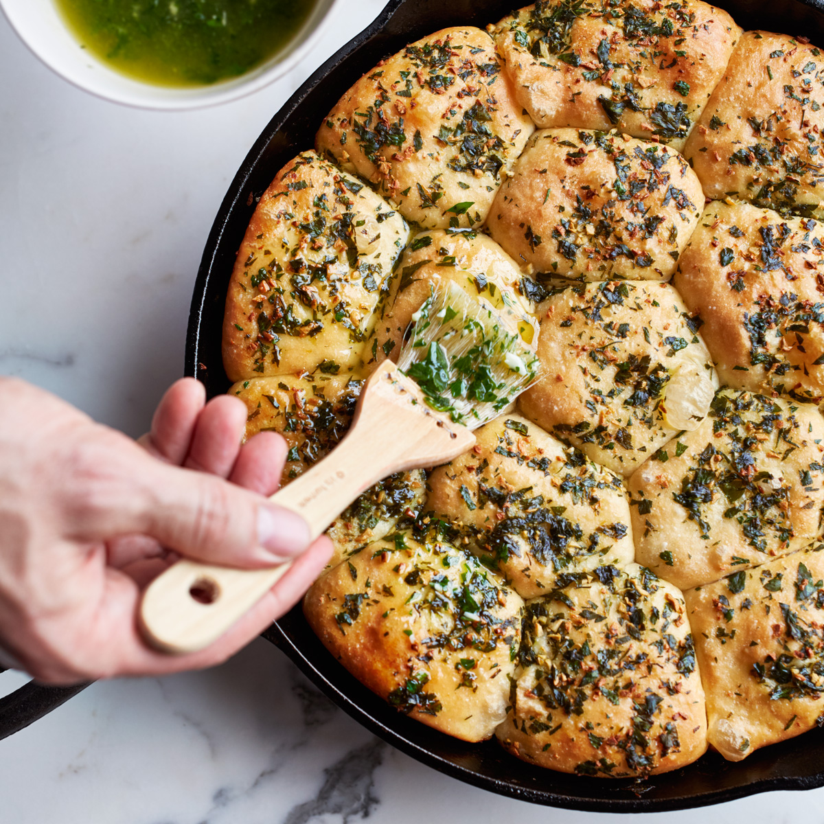 Caraway Rolls with Garlic-Parsley Butter