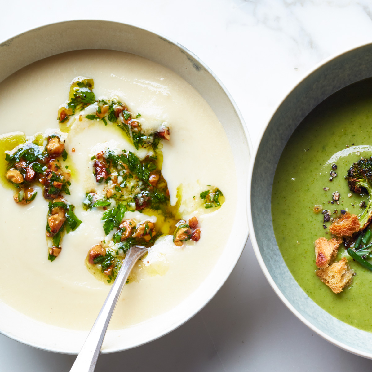 Celery Root Bisque with Walnut-Parsley Gremolata