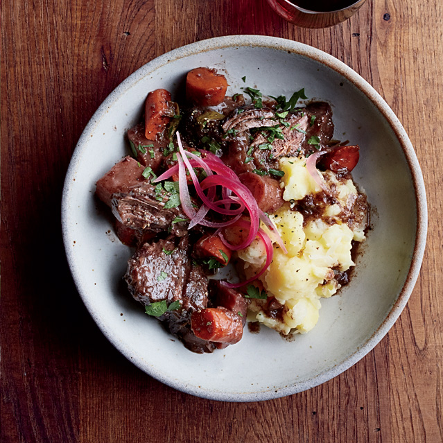 Pinot Noir-Braised  Pot Roast with Root Vegetables