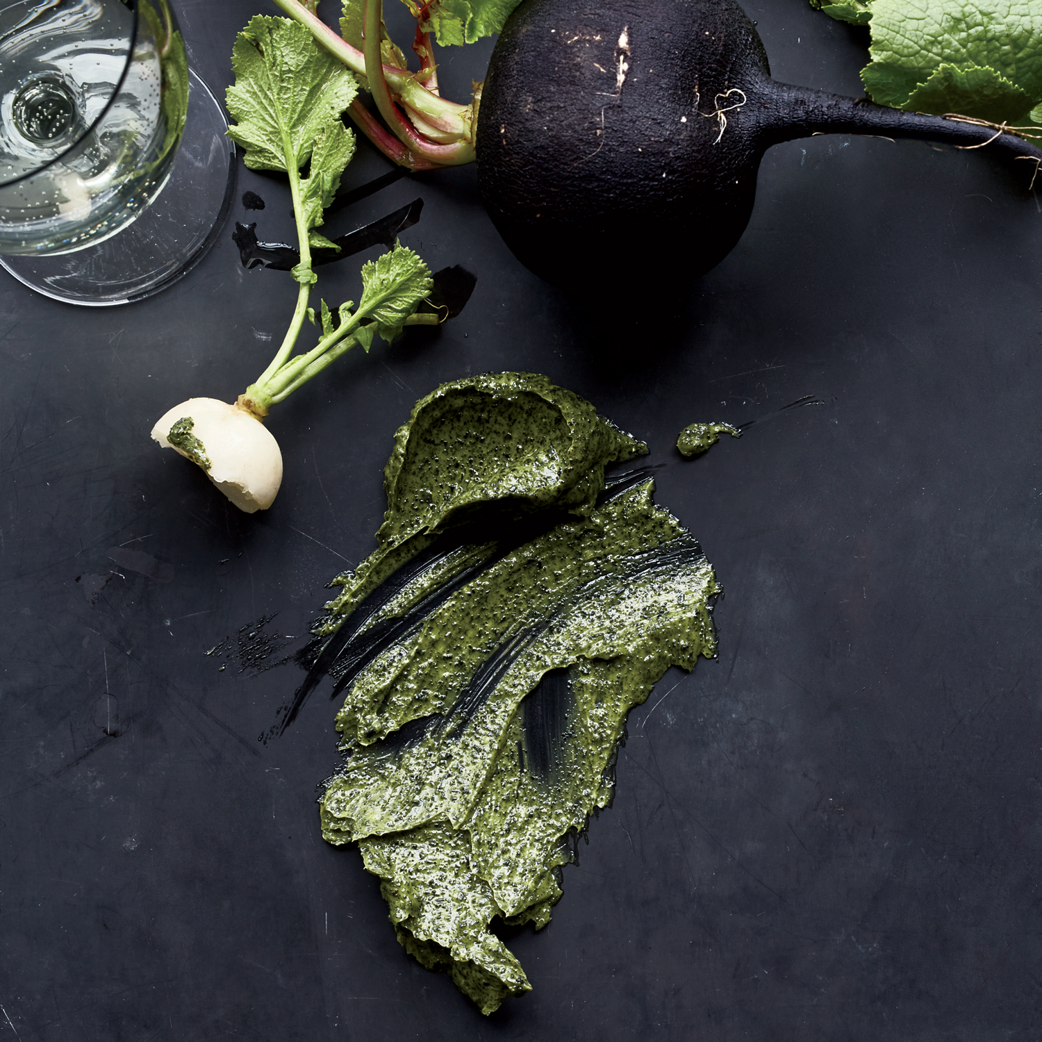 Radishes with Seaweed-Matcha Butter